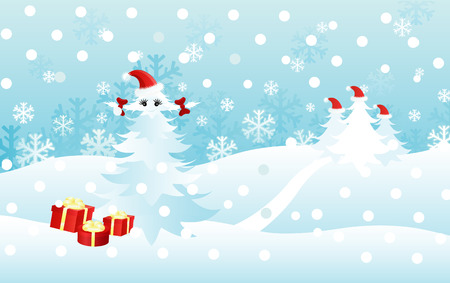 Christmas card desing with funny christmas trees.  Stock Vector - 6047549