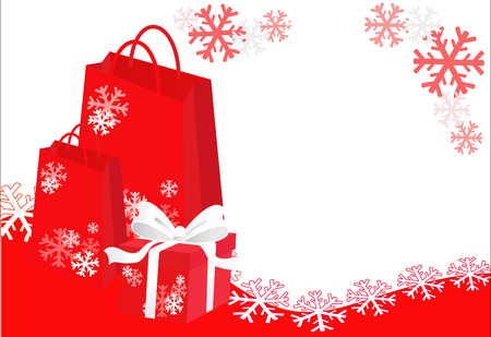 celebration background: Christmas shopping bags and gift