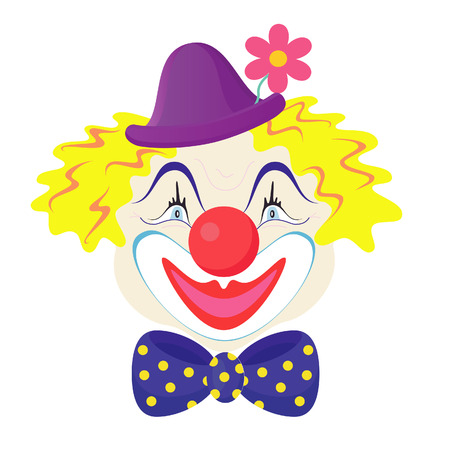 The funny clown in a cap with rose flower