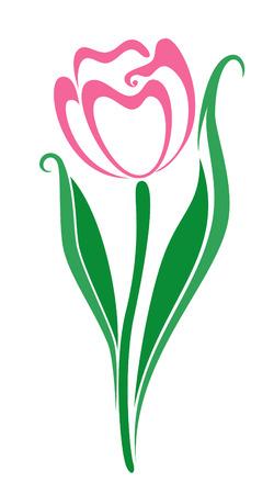 白い背景の上の春のチューリップの束  イラスト・ベクター素材