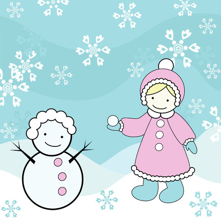 Funny snowman and girl  Çizim