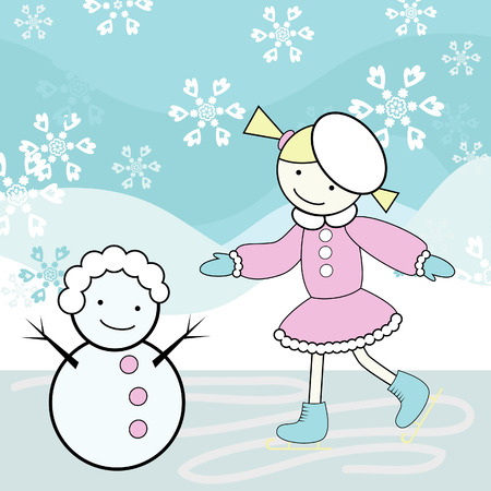 Young girl skating and snowman Vector