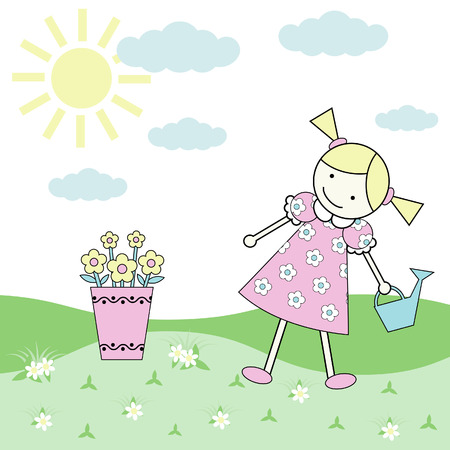 A little Girl with a watering can in a sunny sommer day  Vector