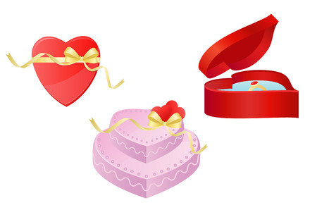 Heart, gift and torte