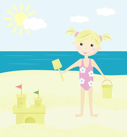 enfant maillot de bain: Fille sur la plage.