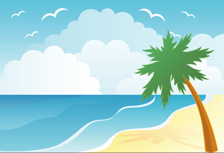 Sunset on the palm beach