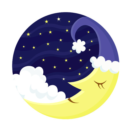 circle shape: Cute sleeping Moon  Illustration