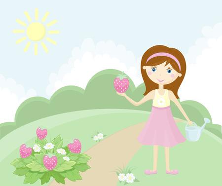 Girl in garden Stock Vector - 6932127