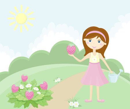 regando el jardin: Ni�a en el jard�n Vectores