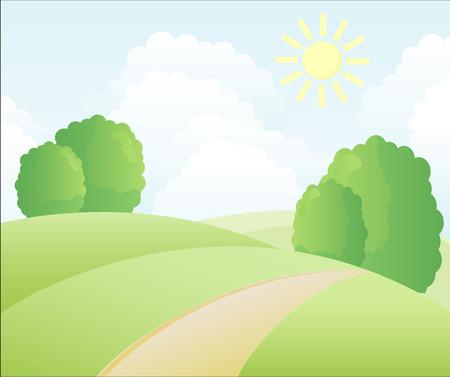 Dorp zomer landschap.  Stock Illustratie
