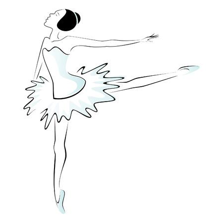발레 댄서 수행 일러스트
