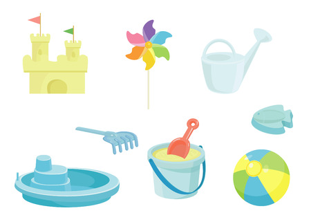 Beach toys icons set