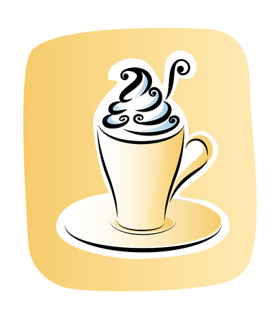 Cup of coffee with whipped cream Illustration