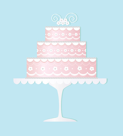 postcard background: Decorated wedding cake Illustration