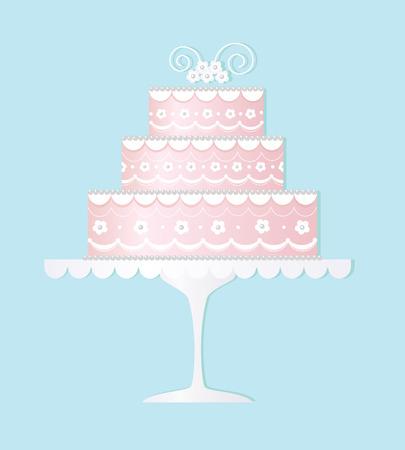 Ingerichte bruids taart  Stock Illustratie