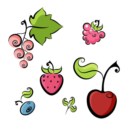 The collection of  icons of summer berries