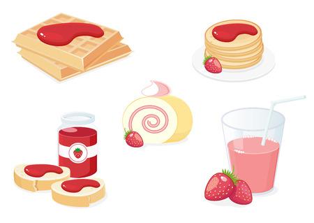 Breakfast with strawberries Stock Vector - 7802225