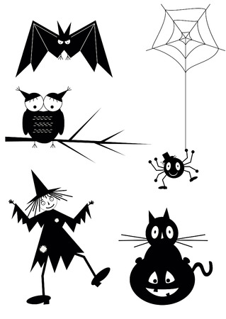 Set of black halloween icons.  Vector