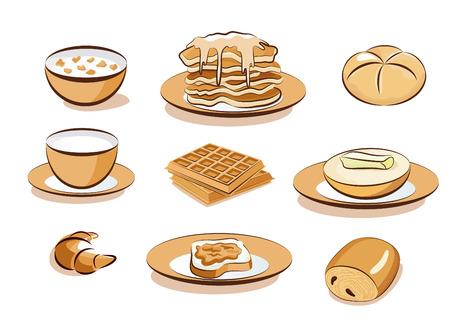 pan con mantequilla: Iconos de desayuno  Vectores