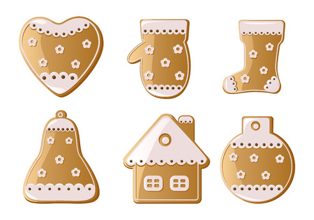 gingerbread cake: Christmas Gingerbread Cookies Illustration