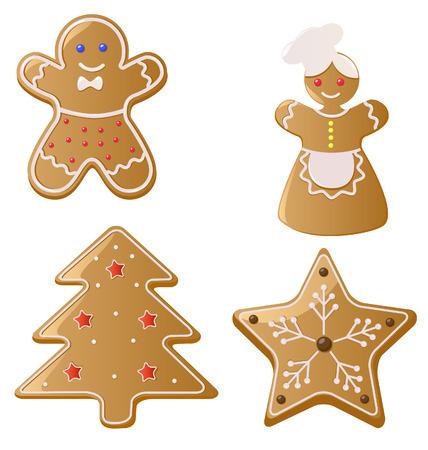 クリスマスのジンジャーブレッドのクッキー  イラスト・ベクター素材