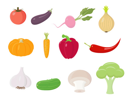 Colored Vegetables Icons Set Vector