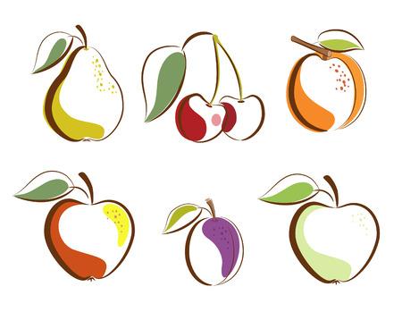 Vruchten clipart pictogrammen Stock Illustratie