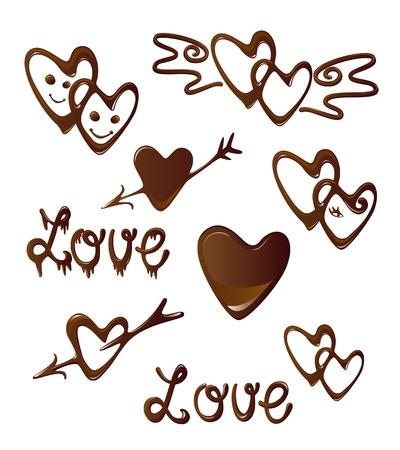 shiny hearts: Chocolate heart and love symbols  Illustration