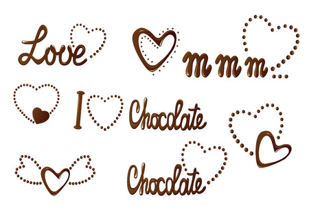 Love choclate collection of hearts and letterings