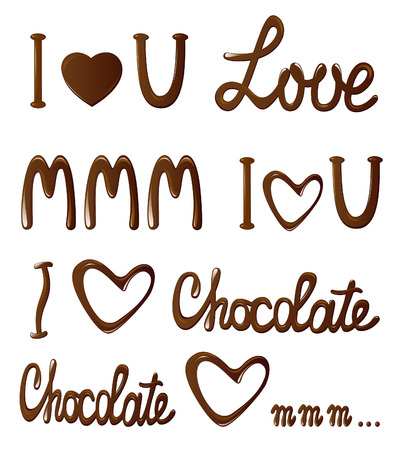 Love choclate collection of letterings