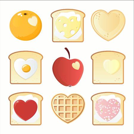 huevos fritos: Iconos de desayuno de San Valent�n