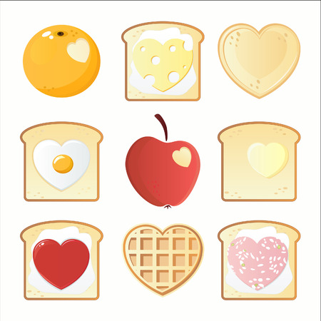 Valentines breakfast icons Vector