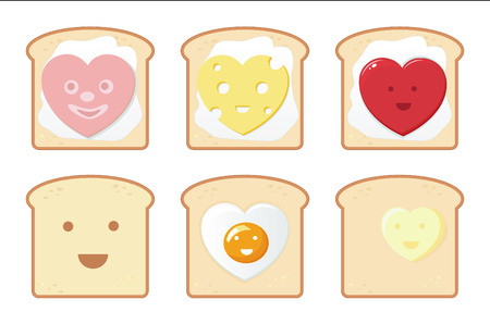 Funny breakfast icons  Illustration