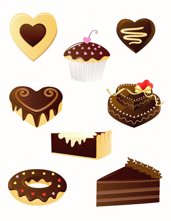 Set of chocolate desserts Vector