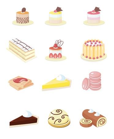 フランス菓子のための色の 16 の小さいアイコン