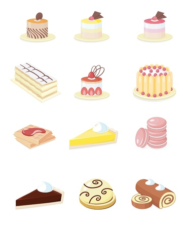 16 Small Icons in colours for French Pastry Ilustração