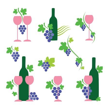 포도 수확: 간단한 와인 아이콘 및 디자인 요소의 컬렉션 일러스트