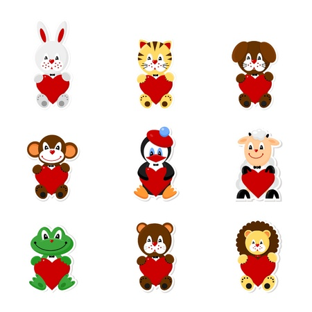 icons set of cute animals for Vanlentines Day