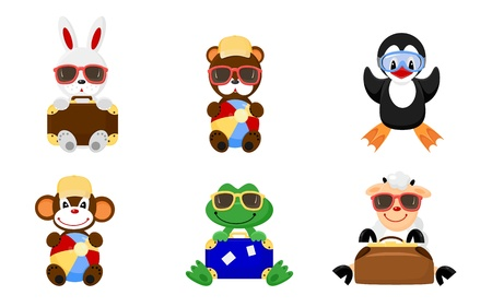Six icons of cute animals drawing in kids style. Vector