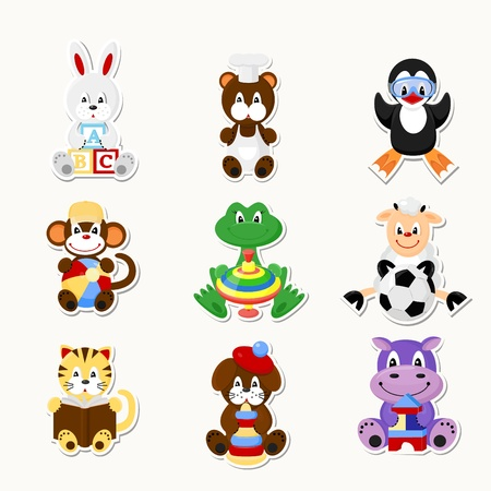 A set of icons. Cute animals in kids style. Vector
