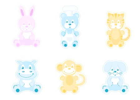 baby picture: A set of vector icons. Cute animals in kids style.