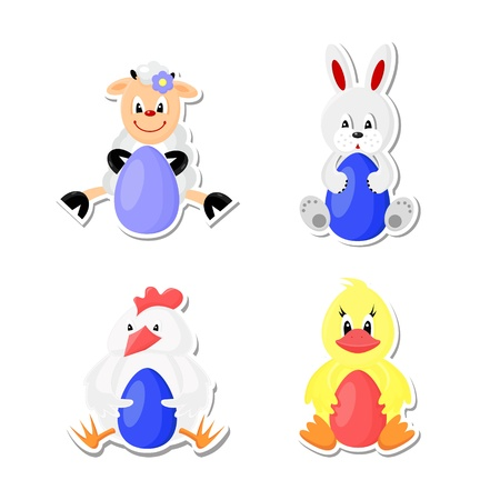 Easter icons set. Cute animals in children style. Иллюстрация