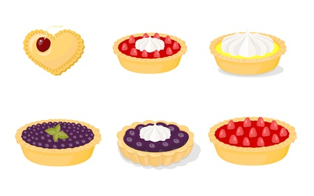 cherry pie: A set of vector icons for baking (pies)