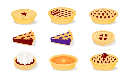 pumpkin pie: A set of vector icons for baking (pies)