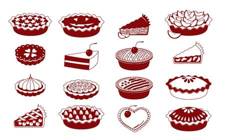 tarte aux cerises: Un ensemble d'ic�nes vectorielles pour la cuisson (tartes et tartelettes) Illustration