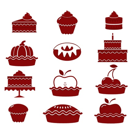 A set of vector icons for baking (cakes and pies)