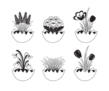 primula: Six black and white spring flowers icons. Illustration