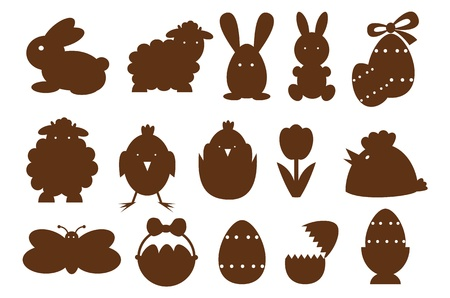 pasen schaap: Monocrom pasen pictogrammen. Stock Illustratie