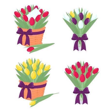bouquet flowers: Tulip design elements for decoration