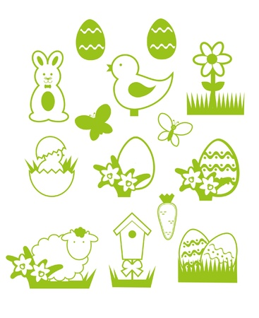 gift basket: Easter icons Illustration